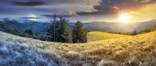 Night And Day Time Change Concept Above Panorama Of Mountain Landscape. Beech Trees On The Meadow With Weathered Grass. Svydovets Ridge In The Distance. Clouds On A Blue Sky With Sun And Moon