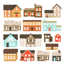 Set Of Pixel Houses Isolated On White Background. Graphics For Games. 8 Bit. Vector Illustration In Pixel Art Style.