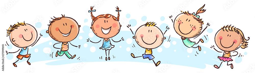 Fototapeta Six happy doodle kids in a row