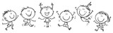 Six happy doodle kids in a row, outline