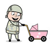 Holding a Baby Stroller - Cute Army Man Cartoon Soldier Vector Illustration