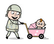 Strolling with Baby - Cute Army Man Cartoon Soldier Vector Illustration
