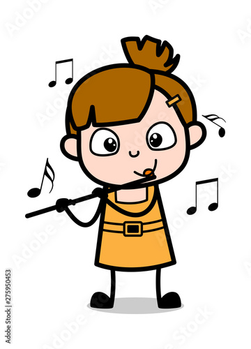 Playing with Flute - Cute Girl Cartoon Character Vector ...