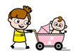 Travelling with Baby in Stroller - Cute Girl Cartoon Character Vector Illustration