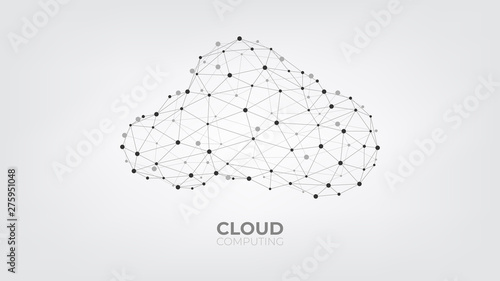 Fototapeta Abstract connecting dots and lines with Cloud computing technology on white and grey background. obraz