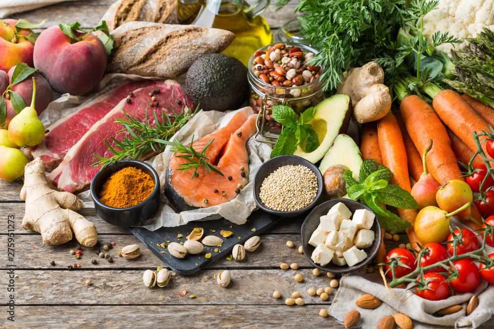 Fototapety, obrazy: Healthy food for balanced flexitarian mediterranean diet concept