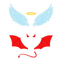 Angel And Devil Wings Illustra...