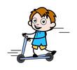 Kid Playing with Skateboard - School Boy Cartoon Character Vector Illustration