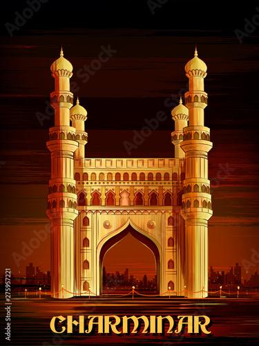 vector illustration of historical monument Charminar in Hyderabad, Telangana, India Fototapete