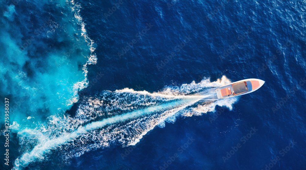 Fototapeta Croatia. Yachts at the sea surface. Aerial view of luxury floating boat on blue Adriatic sea at sunny day. Travel - image