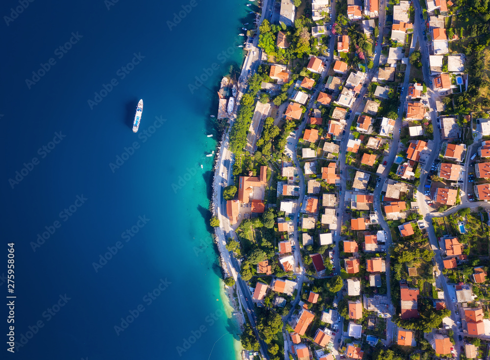 Fototapety, obrazy: Dudrovnik, Croatia. Aerial view at the town. Vacation and adventure. Town and sea. Top view from drone at on the houses and azure sea. Travel - image