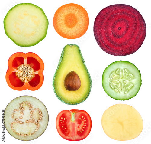 Poster Cuisine Isolated vegetable slices. Collection of fresh cut vegetables (zucchini, carrot, beetroot, bell pepper, avocado, cucumber, eggplant, tomato, potato) isolated on white background with clipping path