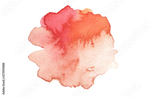 Abstract watercolor and acrylic blot painting. Red Color design element. Texture paper. Isolated on white background.