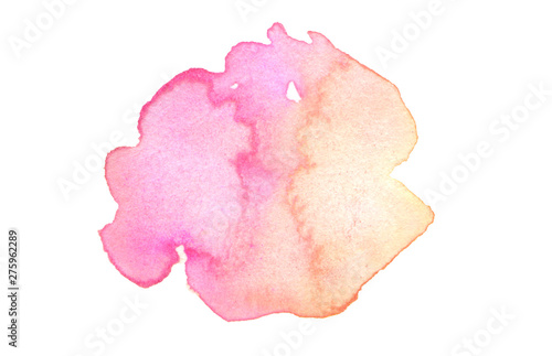 Abstract watercolor and acrylic blot painting. Red and pink Color design element. Texture paper. Isolated on white background.