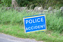 Police Accident Sign At Road C...