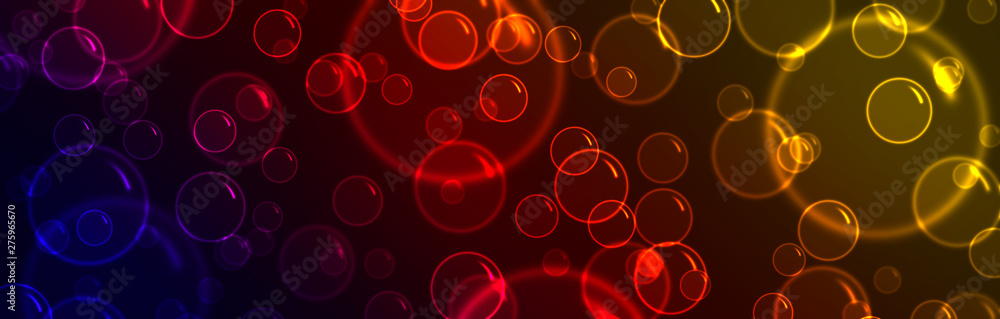 Fototapety, obrazy: Glowing colorful bubbles on a dark background