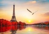 Fototapeta Fototapety z wieżą Eiffla - River Seine in Paris