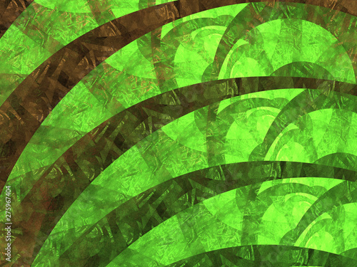 Green Glowing Fractal Spirals, Illustration - Infinite repeating stacked spiral patterns, vortex of curved lines. Recursive symmetrical twisted patterns. Abstract Design