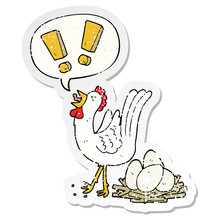 Cartoon Chicken Laying Egg And Speech Bubble Distressed Sticker