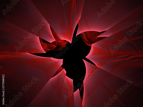 Abstract Background Image, Graphic Illustration Artistic Resource, Lines and Symmetrical Patterns, Glowing Red Neon Colors. Colorful Repeating Star Shaped Patterns, Modern Fractal Digital Art.