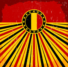 Belgium Vintage Old Poster With Belgian Flag Colors Card Vector Holiday Decoration