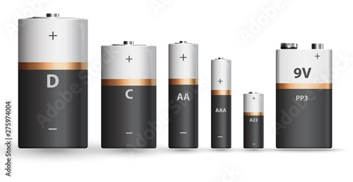 Fotografie, Obraz White gold and black realistic alkaline battery set, diffrent types isolated on white background