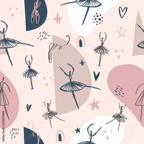 fototapeta na drzwi i meble Childish seamless pattern with dancing girl ballerina in modern style. Vector creative background.