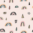 Nursery seamless pattern with cute hand drawn rainbows. Creative scandinavian childish texture for fabric, kids apparel and more. Vector illustration.