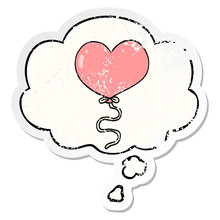 Cartoon Love Heart Balloon And...