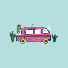 Retro Travel Van Vector Illustration. Hand Drawn Summer Illustration In Vector. Travel Concept.