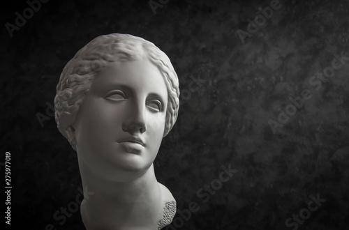 Photographie  Gypsum copy of ancient statue Venus head on a dark textured background