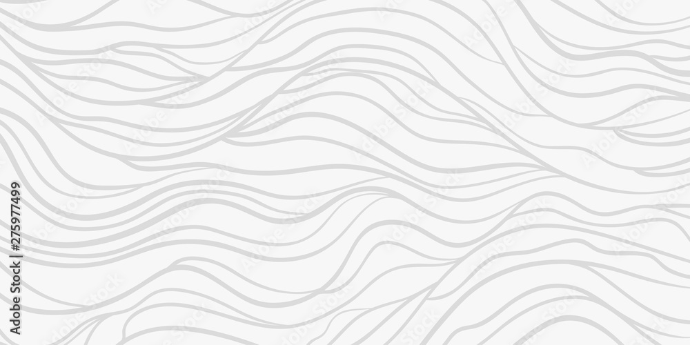 Fototapeta Wavy background. Monochrome backdrop with curved stripes. Repeating abstract waves. Stripe texture with many lines. Black and white illustration