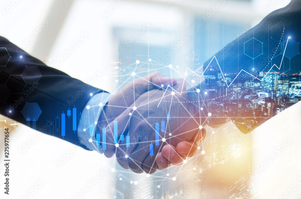 Fototapeta business man investor handshake with global network link connection and graph chart stock market diagram and city background, digital technology, internet communication, teamwork, partnership concept