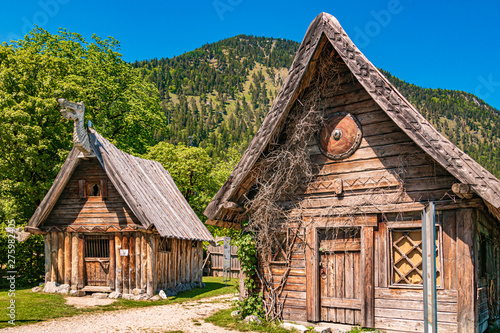 Beautiful viking village at the famous Walchensee - Bavaria - Germany Canvas Print