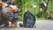 Leinwandbild Motiv Photographer Lifestyle With Camera Bag