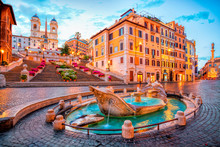 Piazza De Spagna In Rome, Italy. Spanish Steps In The Morning. Rome Architecture And Landmark.