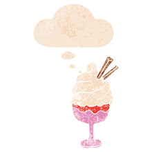 Cartoon Ice Cream And Thought Bubble In Retro Textured Style
