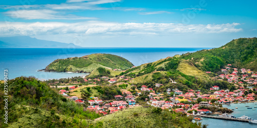 Spoed Foto op Canvas Blauw Panoramic landscape view of Terre-de-Haut, Guadeloupe, Les Saintes, Caribbean Sea.
