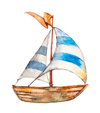 Beautiful Ship With Striped Sails. Drawing Watercolor On White Background. Isolated Object