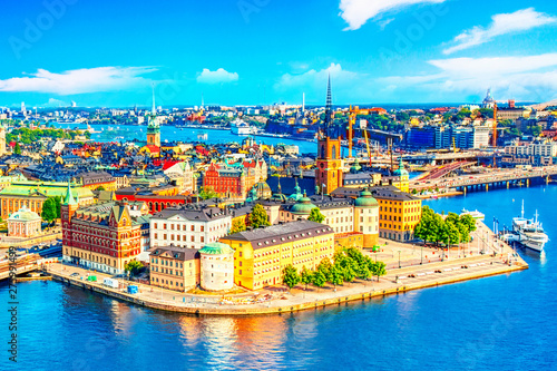 Beautiful aerial view of Stockholm Old town Gamla Stan from the City Hall Stadshuset. Beautiful summer sunny day in Stockholm, Sweden.