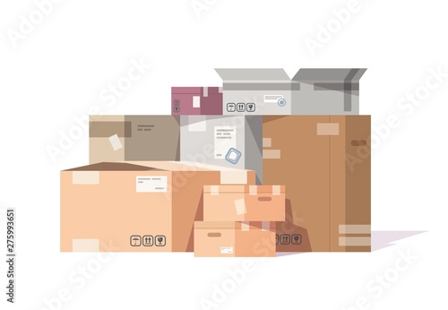 Cardboard boxes stack Canvas Print