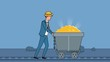 Flat cartoon businessman character pushing miners wagon barrow with gold business concept animation