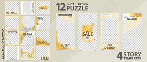 Trendy editable template for social networks stories and posts, vector illustration Fototapeta
