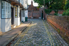 The Narrow Cobbled Parson's Fee Street In Aylesbury, Buckinghamshire, England.