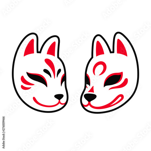 Japanese Kitsune fox and wolf mask Poster Mural XXL