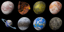 Set Of Alien Planet Isolated On Black Background, Nearby Exoplanets (3d Science Illustration)