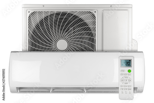 Poster Amsterdam Set of air conditioner ac inverter heat pump mini split system with indoor outdoor unit and remote control isolated white background