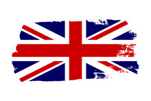 Great Britain Flag. Jack UK Grunge Flag Isolated White Background. English United Kingdom Design. British National Symbol England Country, Patriotism. Graphic Sketch Brush Stroke. Vector Illustration