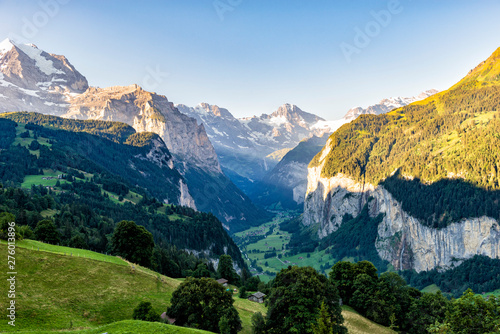 Fototapeta  Switzerland Sunrise Spectacular View - Lauterbrunnen seen from Wengen