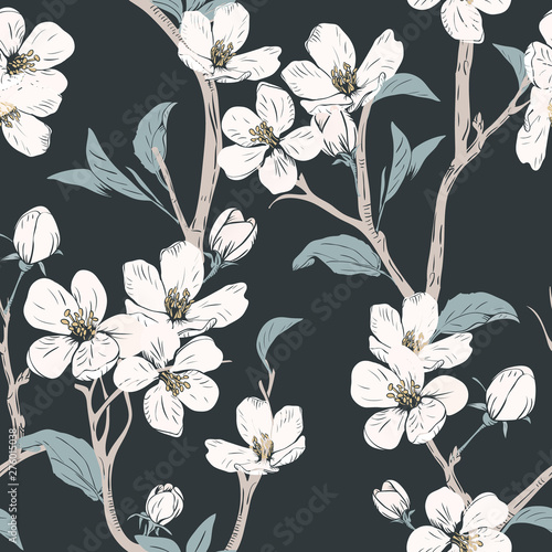 obraz lub plakat Blooming tree. Seamless pattern with flowers. Spring floral texture. Hand drawn botanical vector illustration